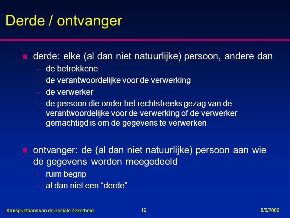 Derde / ontvanger derde: elke (al dan niet natuurlijke) persoon, andere dan. de betrokkene. de verantwoordelijke voor de verwerking.