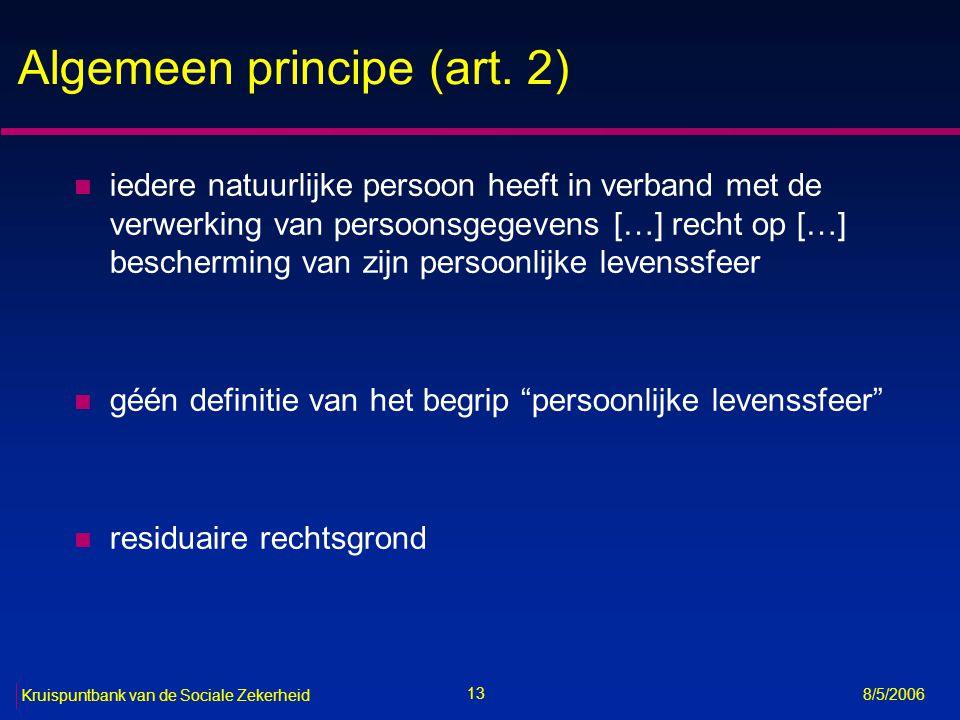 Algemeen principe (art. 2)
