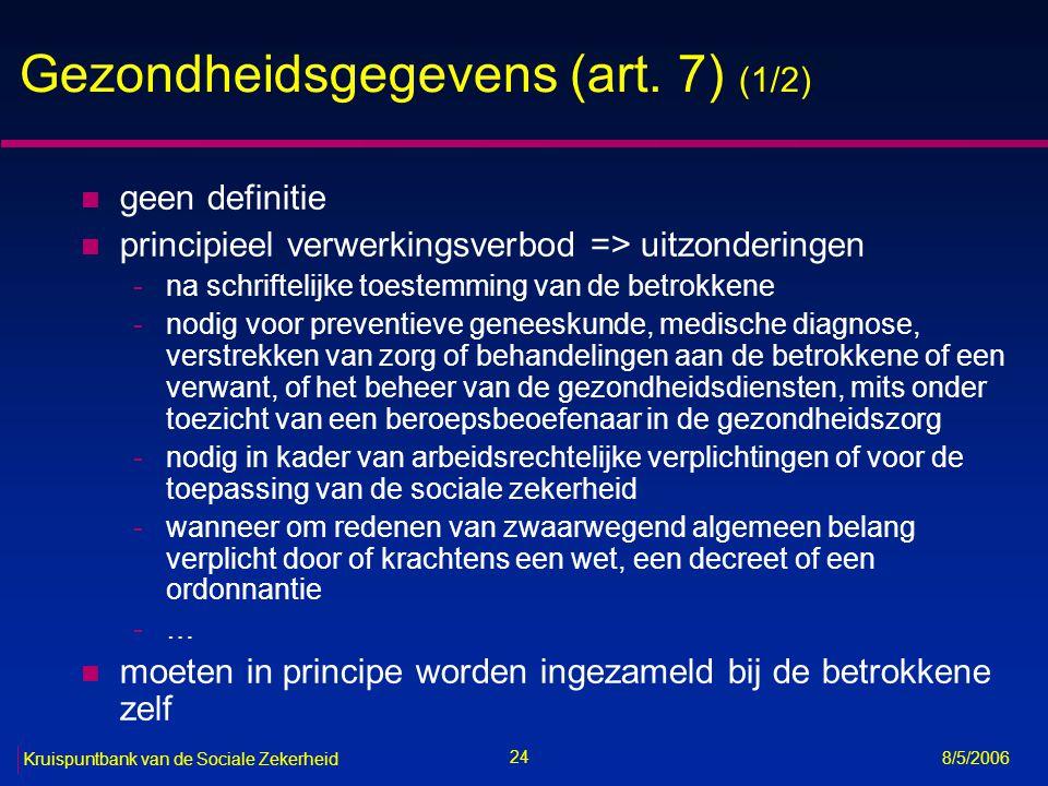 Gezondheidsgegevens (art. 7) (1/2)