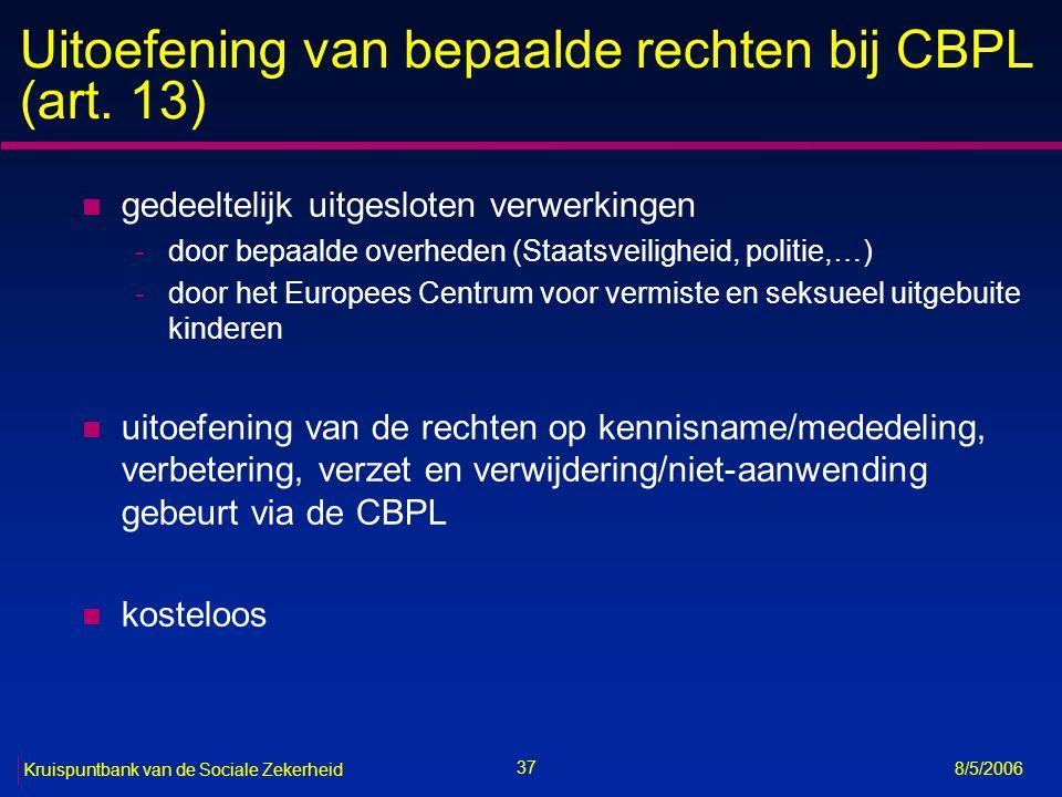 Uitoefening van bepaalde rechten bij CBPL (art. 13)