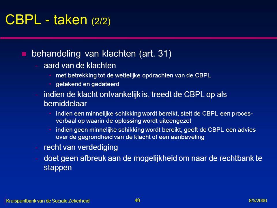 CBPL - taken (2/2) behandeling van klachten (art. 31)