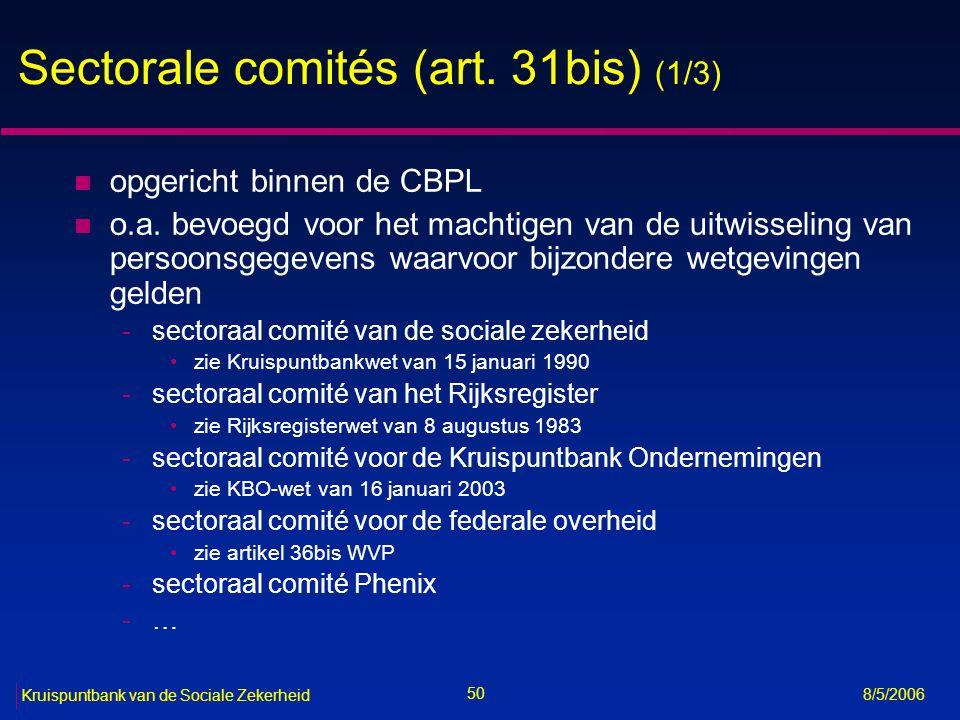 Sectorale comités (art. 31bis) (1/3)