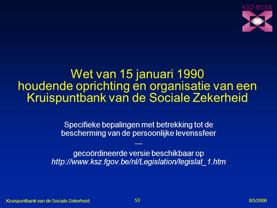 KSZ-BCSS Wet van 15 januari 1990 houdende oprichting en organisatie van een Kruispuntbank van de Sociale Zekerheid.