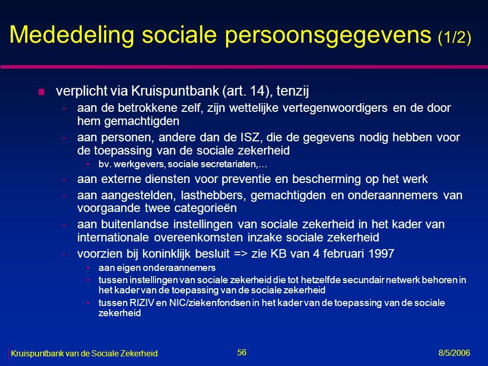 Mededeling sociale persoonsgegevens (1/2)