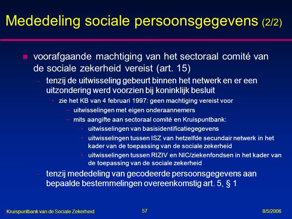 Mededeling sociale persoonsgegevens (2/2)