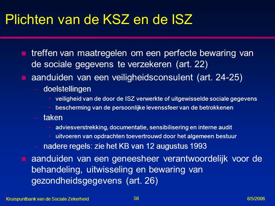Plichten van de KSZ en de ISZ