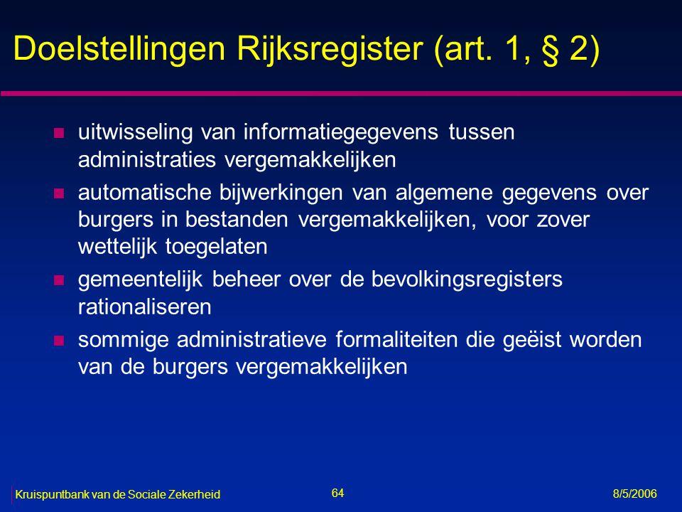 Doelstellingen Rijksregister (art. 1, § 2)
