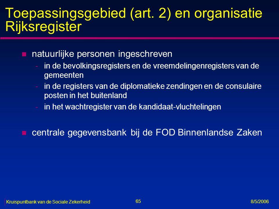 Toepassingsgebied (art. 2) en organisatie Rijksregister