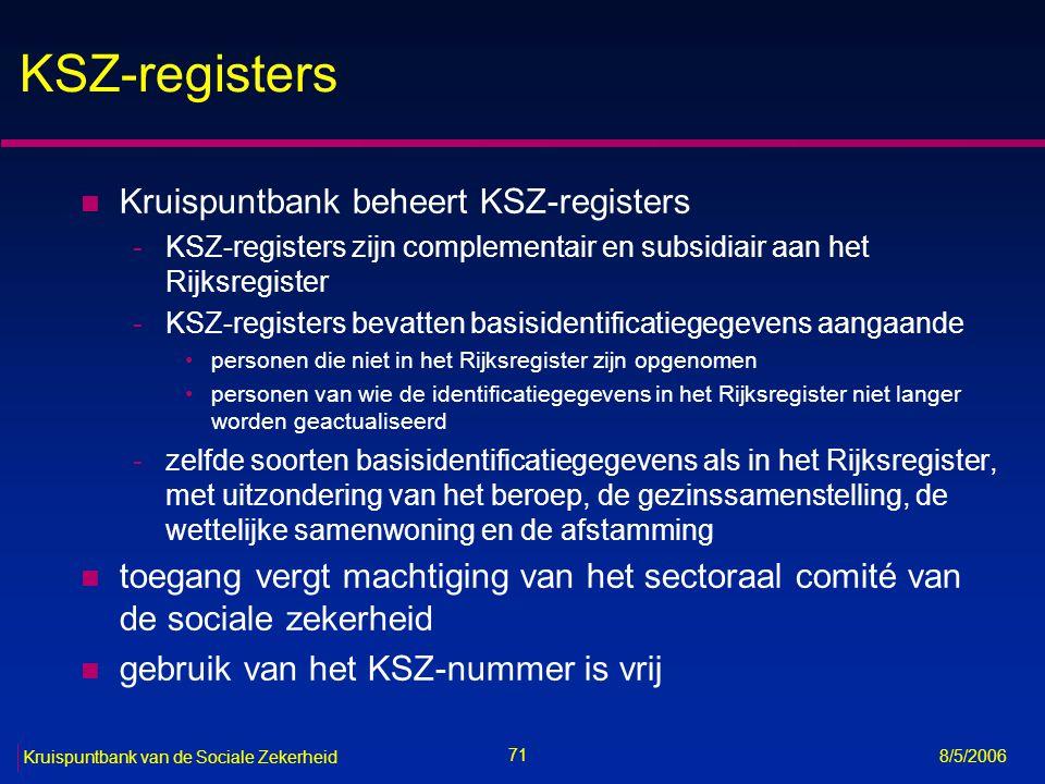 KSZ-registers Kruispuntbank beheert KSZ-registers