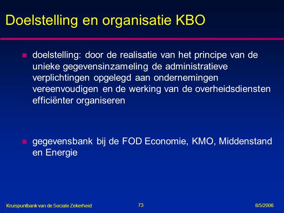 Doelstelling en organisatie KBO
