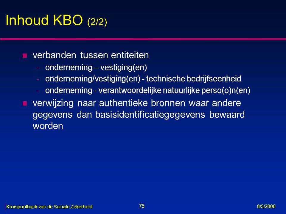 Inhoud KBO (2/2) verbanden tussen entiteiten