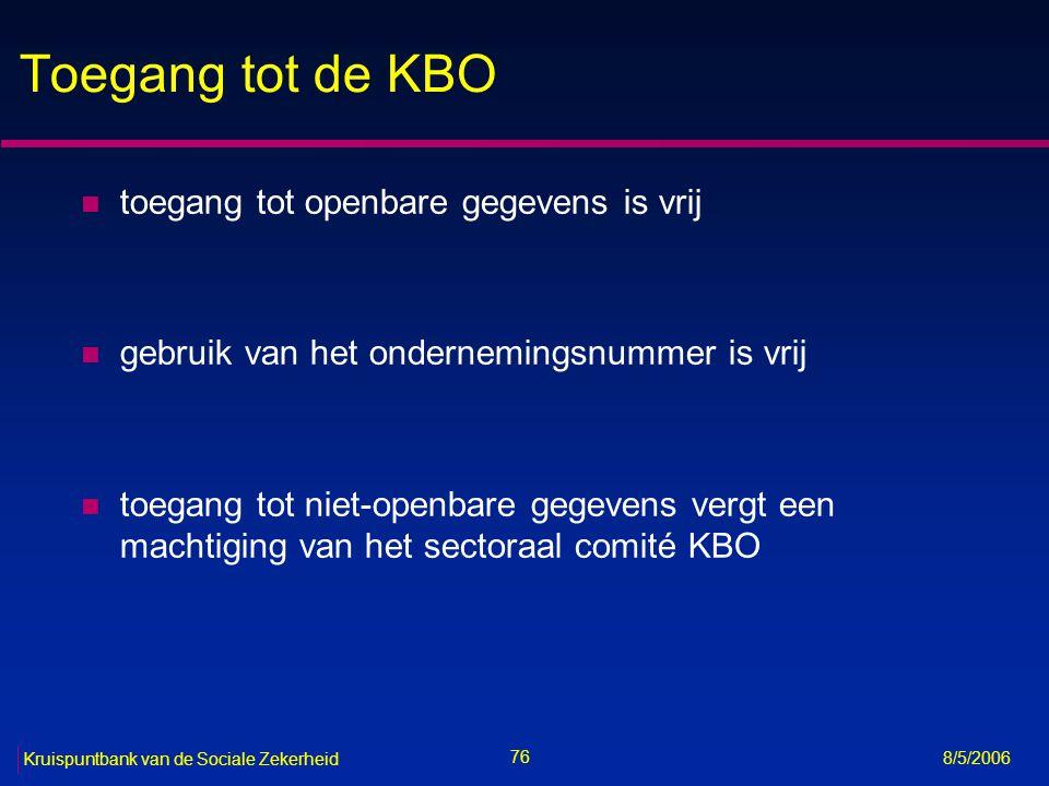 Toegang tot de KBO toegang tot openbare gegevens is vrij