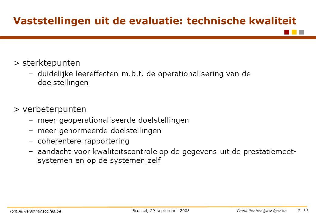 Vaststellingen uit de evaluatie: technische kwaliteit