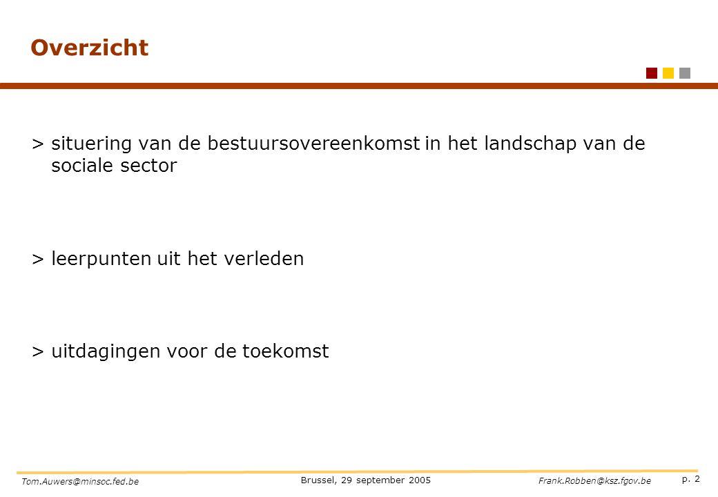 Overzicht situering van de bestuursovereenkomst in het landschap van de sociale sector. leerpunten uit het verleden.