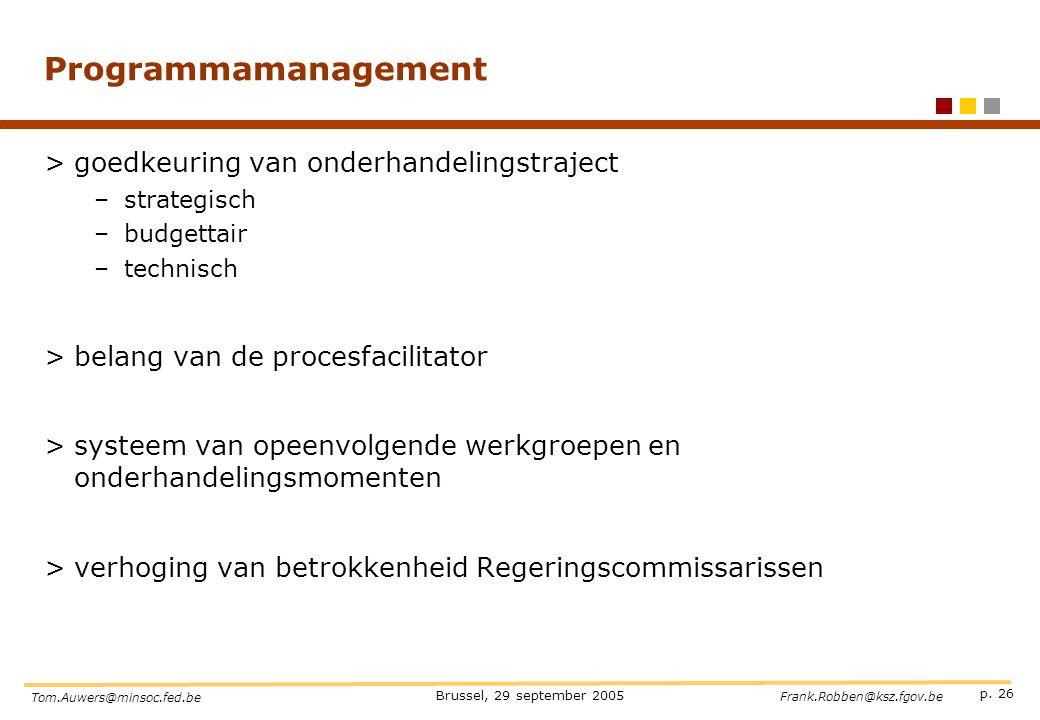 Programmamanagement goedkeuring van onderhandelingstraject