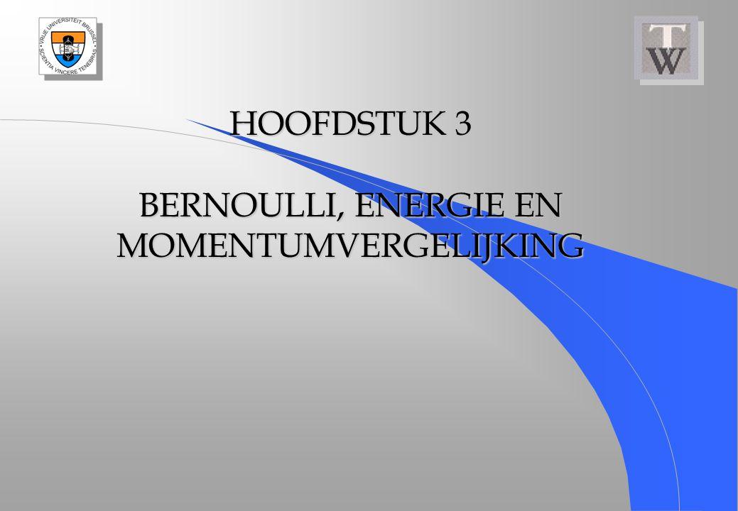HOOFDSTUK 3 BERNOULLI, ENERGIE EN MOMENTUMVERGELIJKING