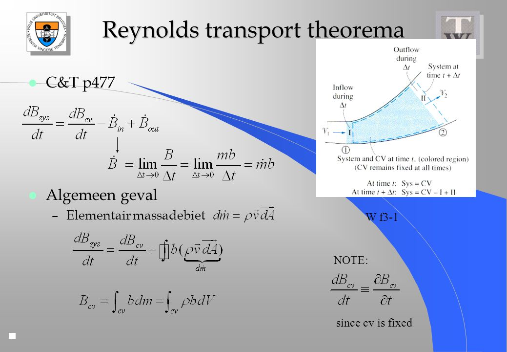 Reynolds transport theorema