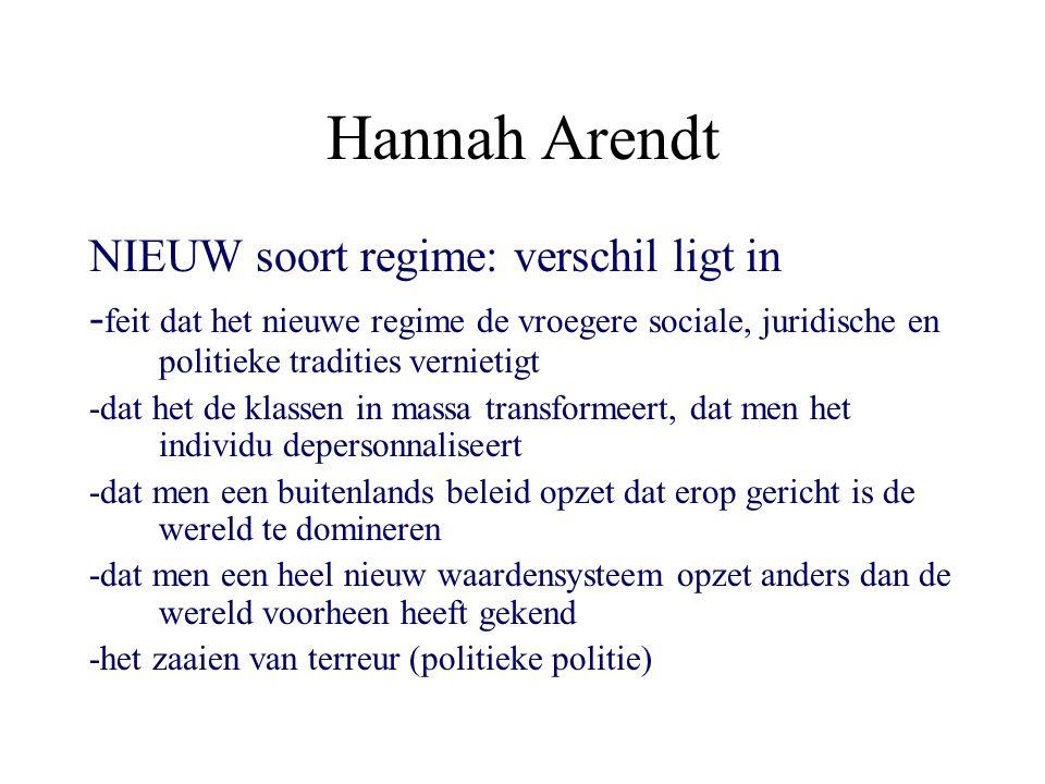 Hannah Arendt NIEUW soort regime: verschil ligt in