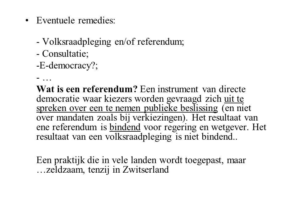 Eventuele remedies: - Volksraadpleging en/of referendum; - Consultatie; -E-democracy ; - …