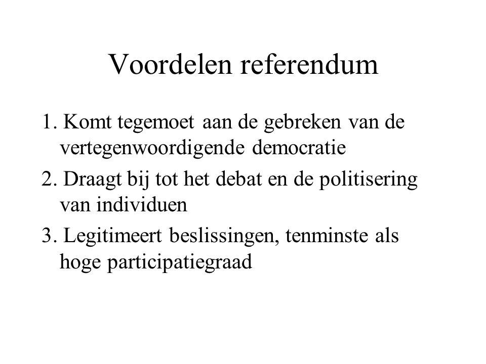 Voordelen referendum 1. Komt tegemoet aan de gebreken van de vertegenwoordigende democratie.