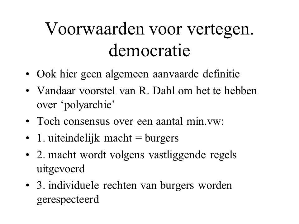 Voorwaarden voor vertegen. democratie