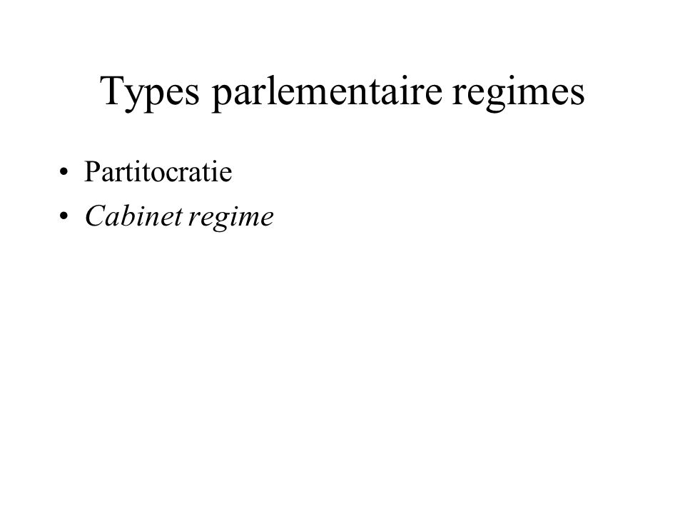 Types parlementaire regimes