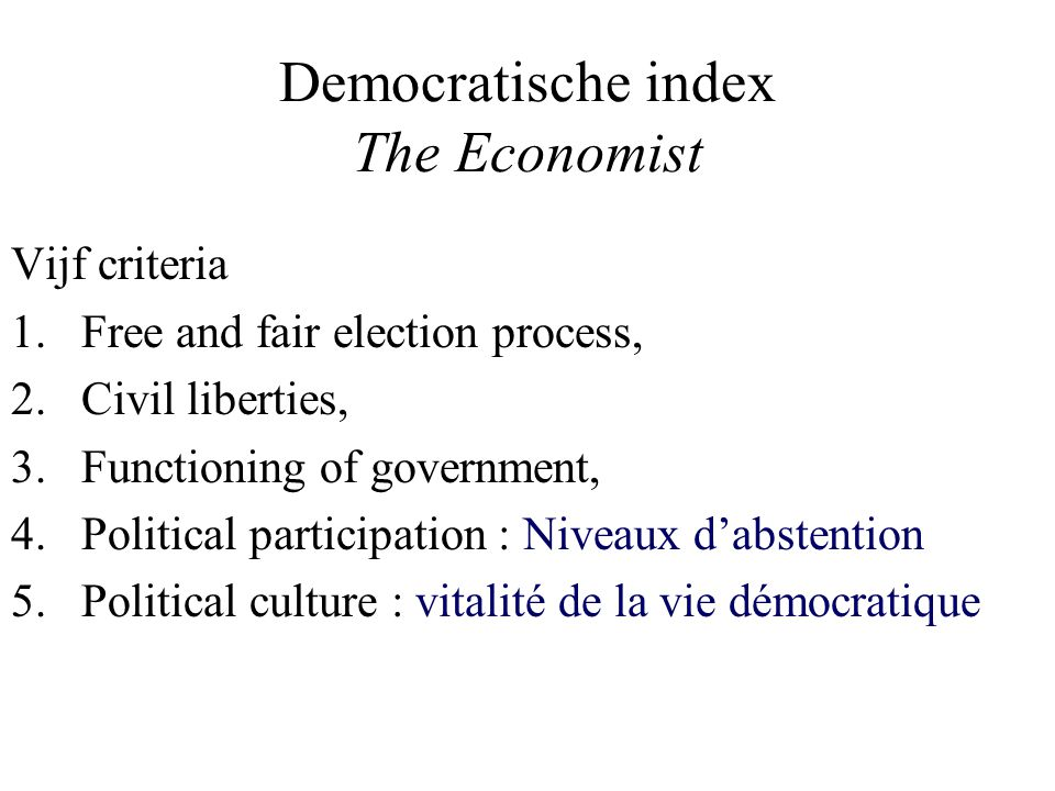 Democratische index The Economist