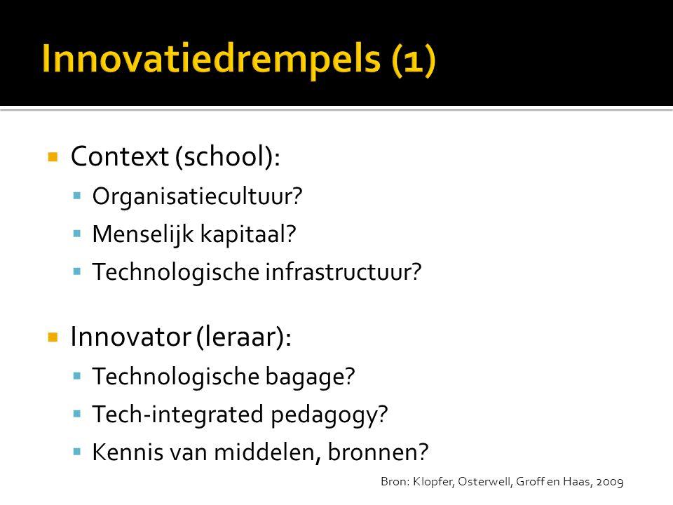 Innovatiedrempels (1) Context (school): Innovator (leraar):