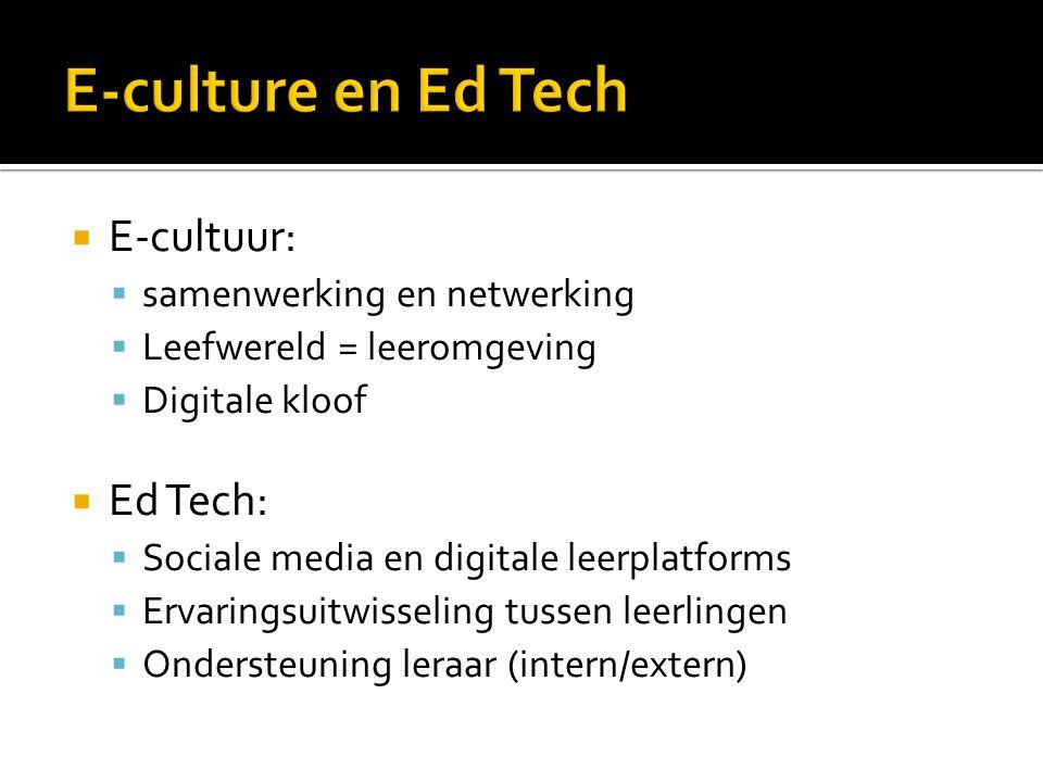 E-culture en Ed Tech E-cultuur: Ed Tech: samenwerking en netwerking