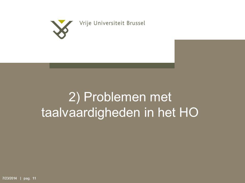 2) Problemen met taalvaardigheden in het HO