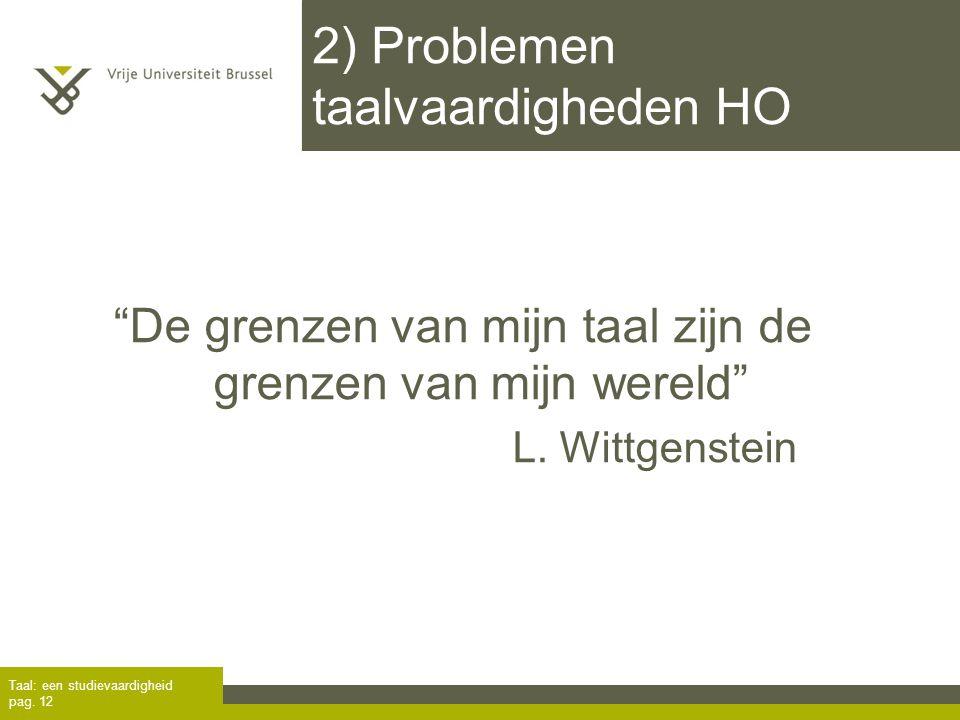 2) Problemen taalvaardigheden HO