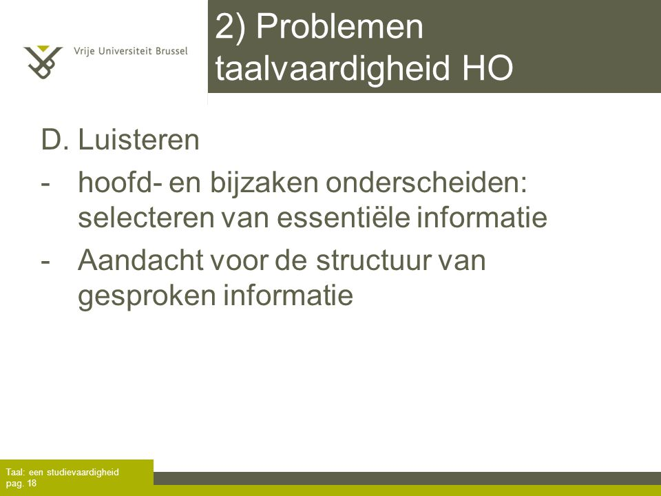 2) Problemen taalvaardigheid HO