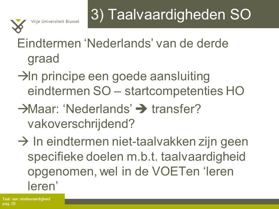 3) Taalvaardigheden SO Eindtermen 'Nederlands' van de derde graad