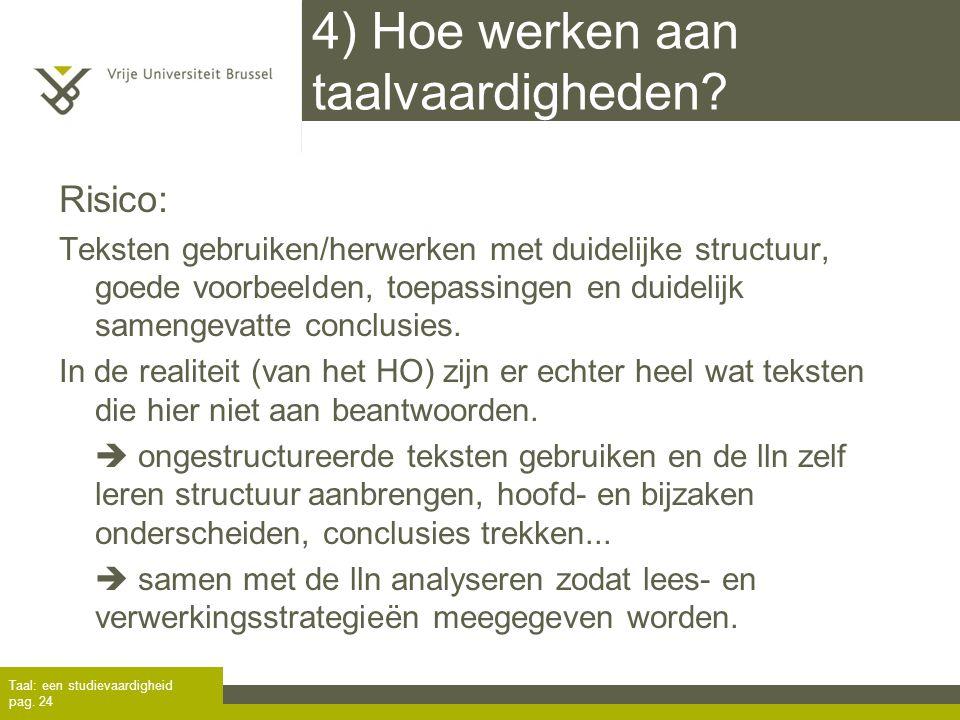 4) Hoe werken aan taalvaardigheden