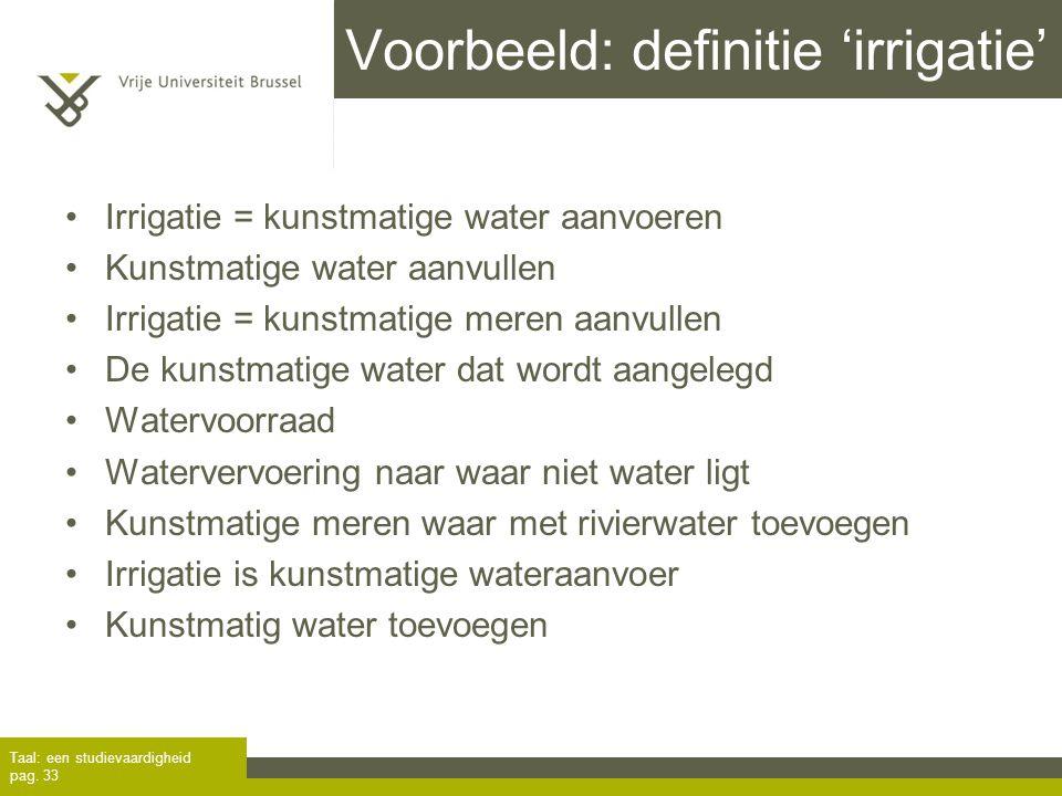 Voorbeeld: definitie 'irrigatie'