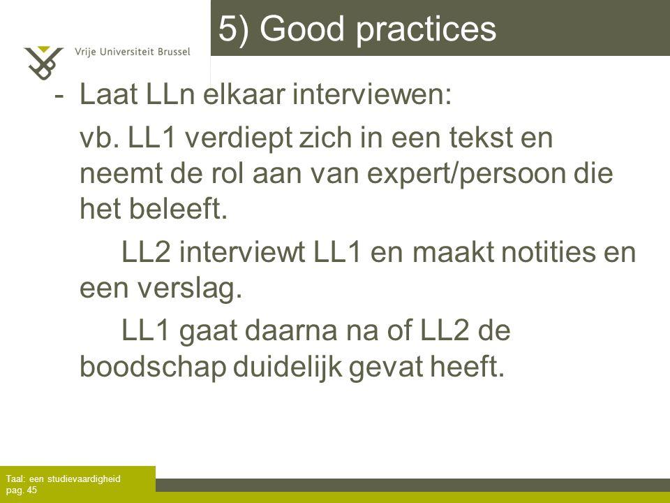 5) Good practices Laat LLn elkaar interviewen: