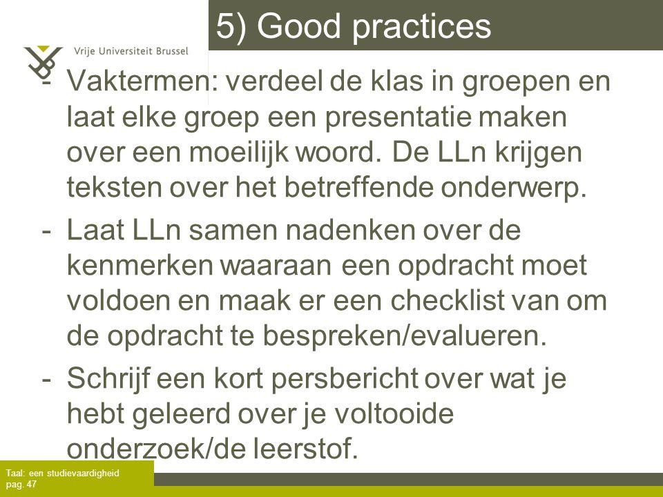 5) Good practices