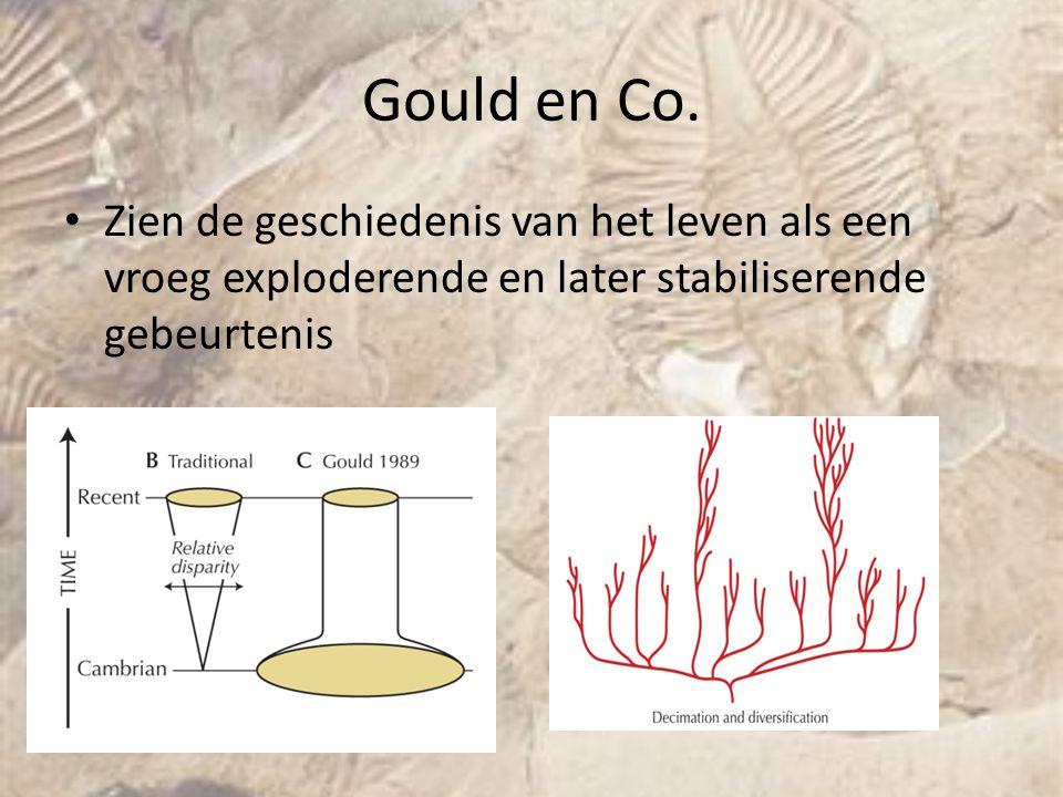 Gould en Co. Zien de geschiedenis van het leven als een vroeg exploderende en later stabiliserende gebeurtenis.