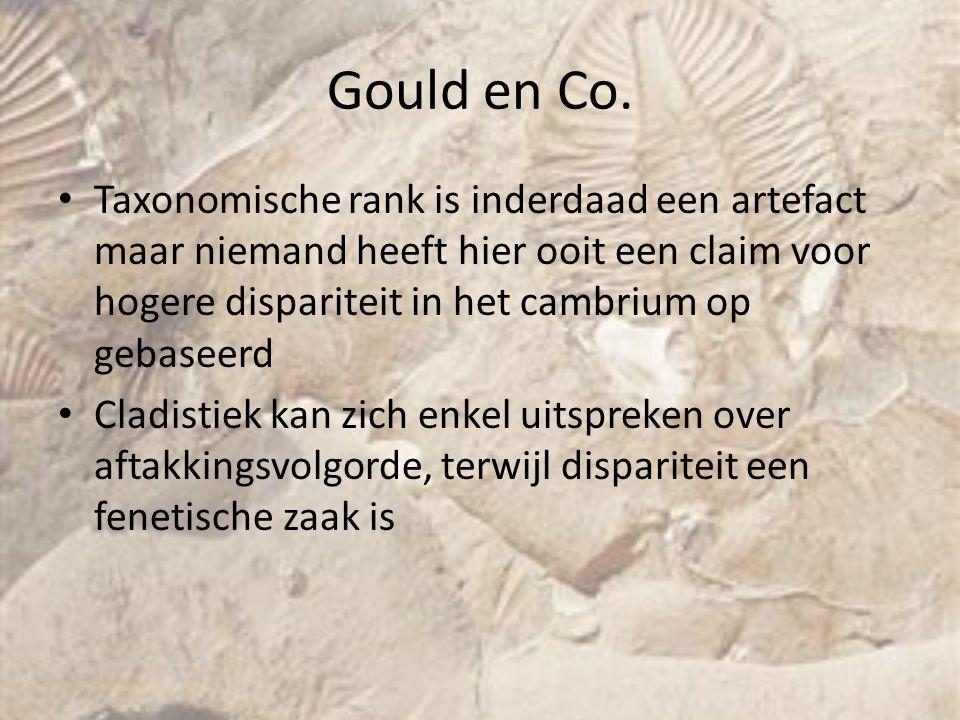 Gould en Co. Taxonomische rank is inderdaad een artefact maar niemand heeft hier ooit een claim voor hogere dispariteit in het cambrium op gebaseerd.