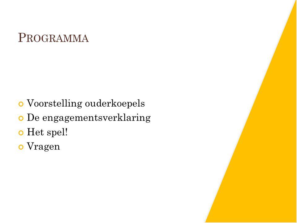 Programma Voorstelling ouderkoepels De engagementsverklaring Het spel!