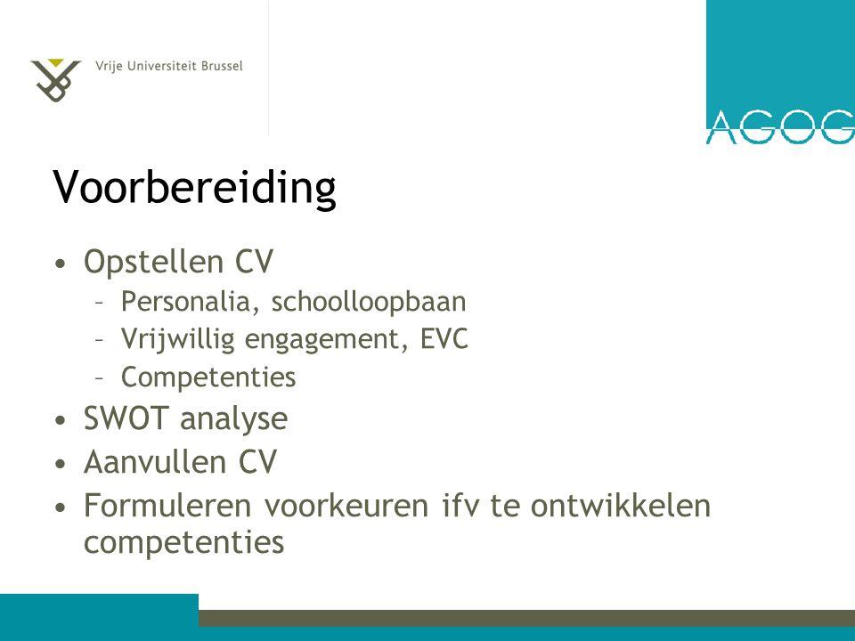 Voorbereiding Opstellen CV SWOT analyse Aanvullen CV
