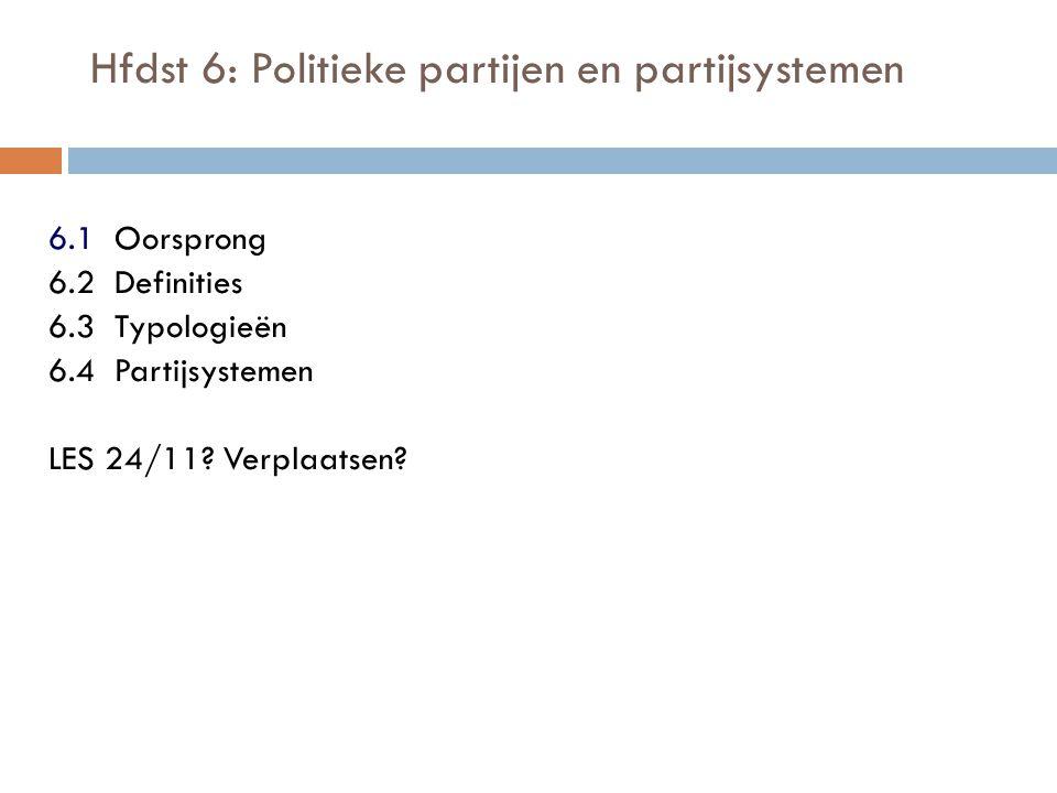 Hfdst 6: Politieke partijen en partijsystemen