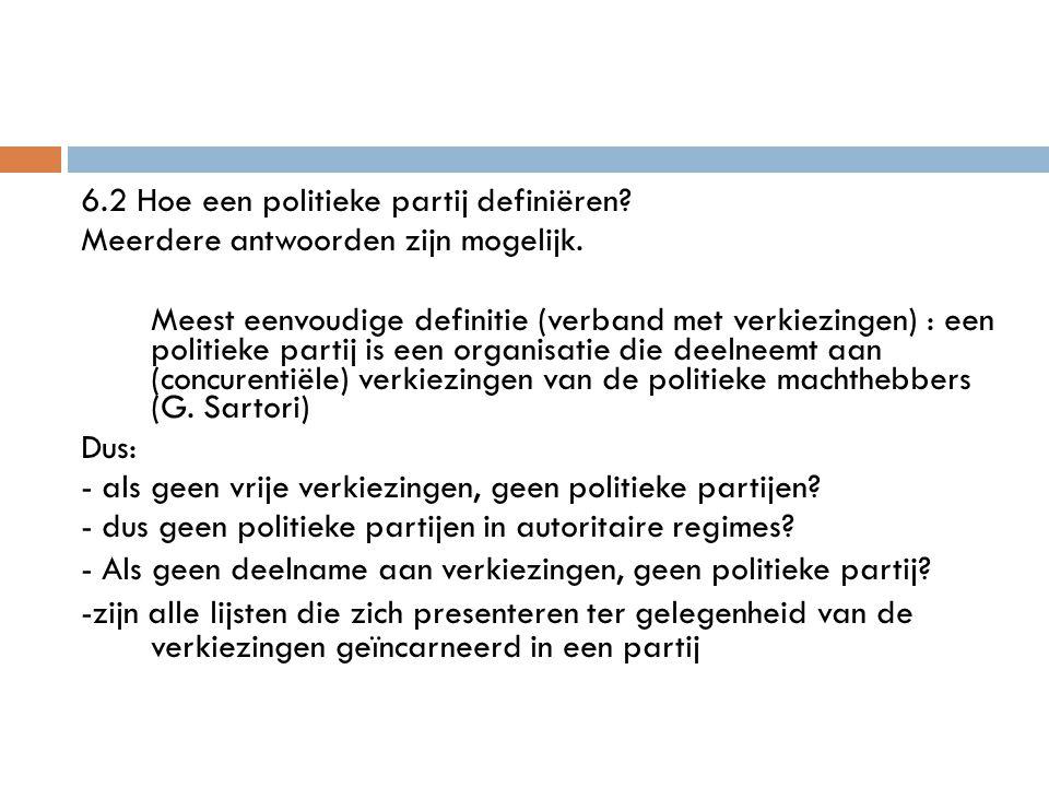 6. 2 Hoe een politieke partij definiëren