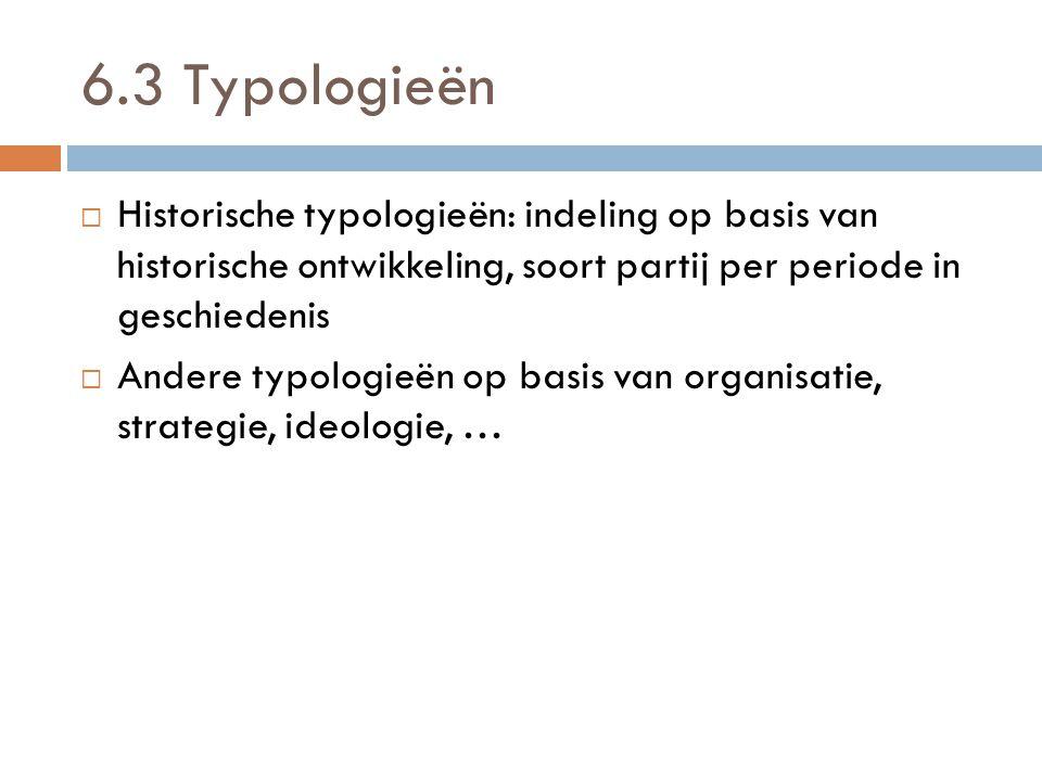 6.3 Typologieën Historische typologieën: indeling op basis van historische ontwikkeling, soort partij per periode in geschiedenis.
