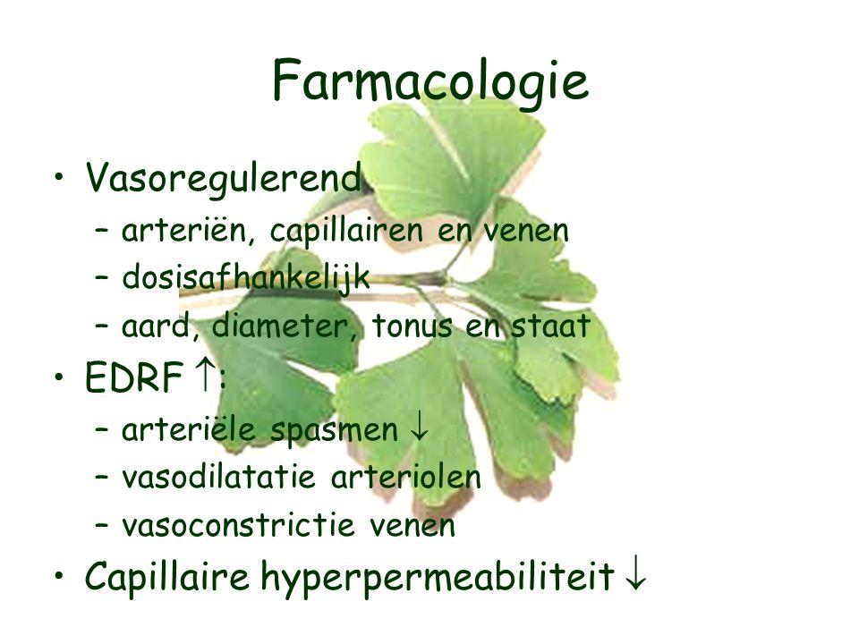 Farmacologie Vasoregulerend EDRF : Capillaire hyperpermeabiliteit 