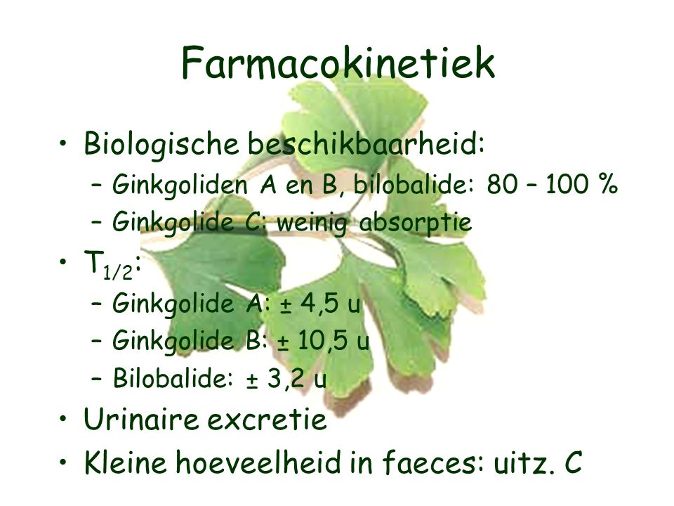 Farmacokinetiek Biologische beschikbaarheid: T1/2: Urinaire excretie