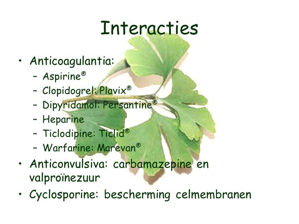 Interacties Anticoagulantia: