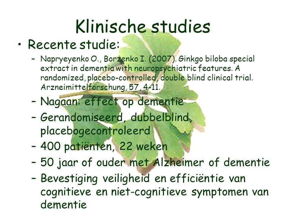 Klinische studies Recente studie: Nagaan: effect op dementie