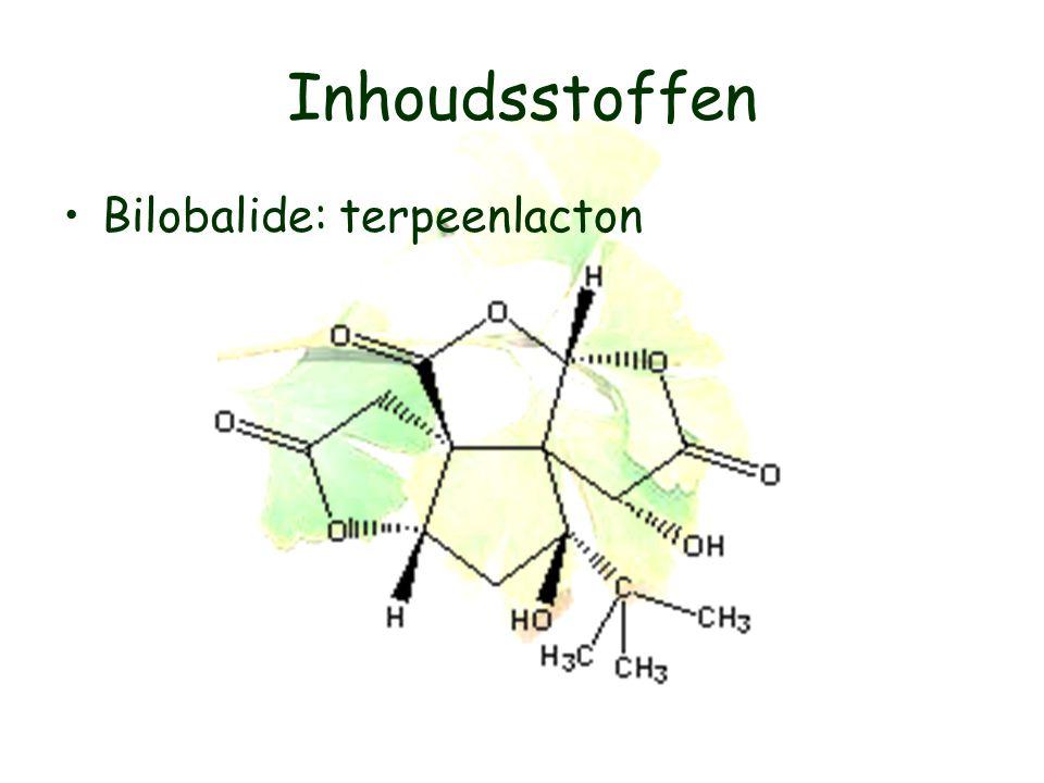 Inhoudsstoffen Bilobalide: terpeenlacton