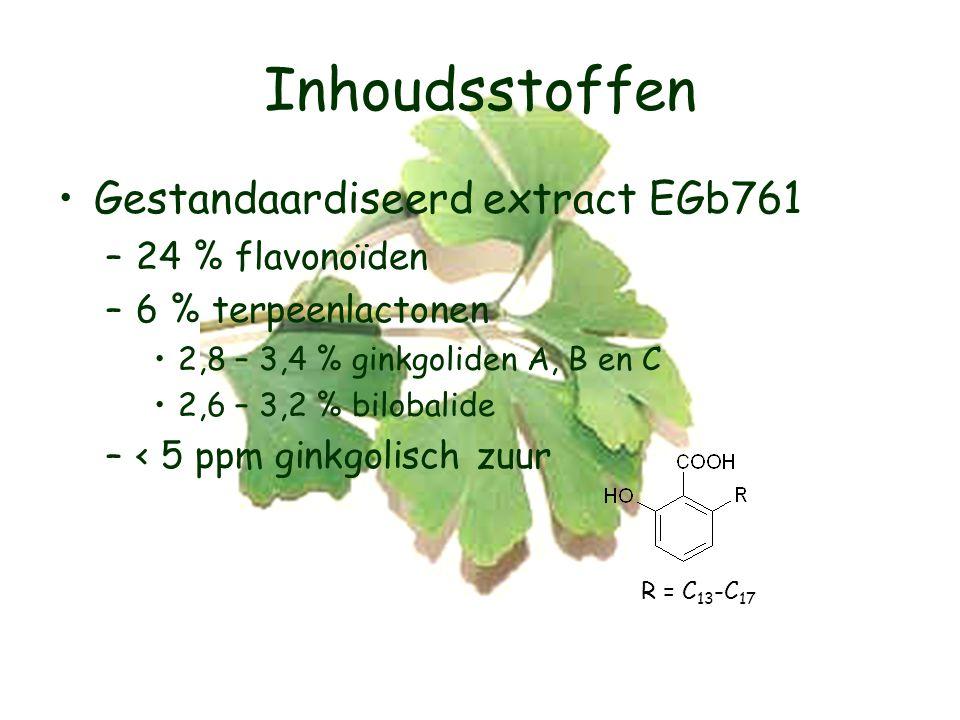 Inhoudsstoffen Gestandaardiseerd extract EGb761 24 % flavonoïden